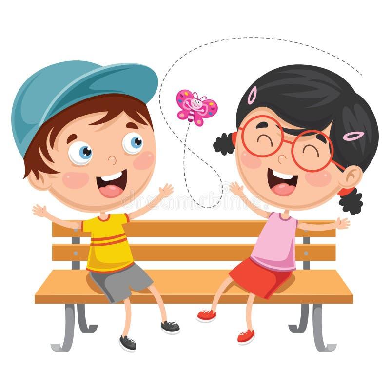 孩子的传染媒介例证坐公园长椅 库存例证