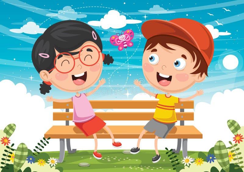 孩子的传染媒介例证坐公园长椅 向量例证