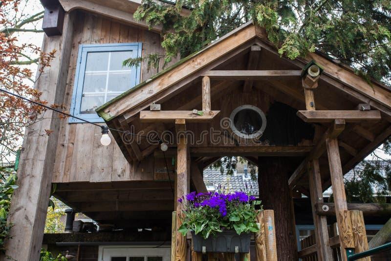 孩子的传统木树上小屋 免版税图库摄影