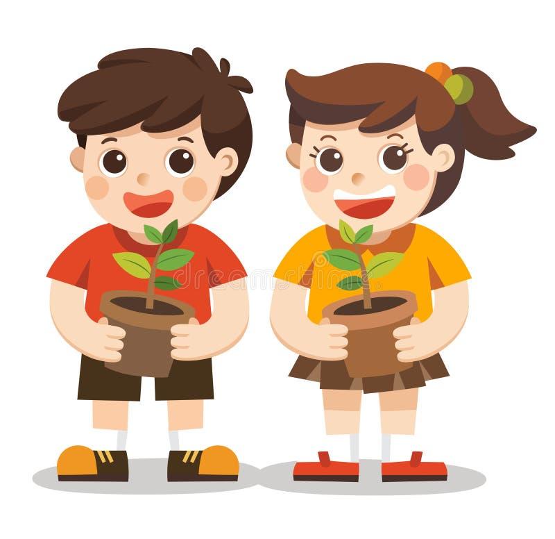 孩子的例证在庭院里种植小植物 向量例证