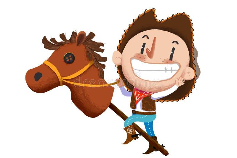 孩子的例证:与被充塞的马玩具的母牛男孩戏剧 向量例证