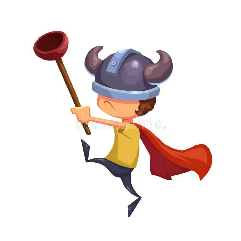孩子的例证:有洗手间柱塞和北欧海盗帽子的超级孩子英雄 皇族释放例证