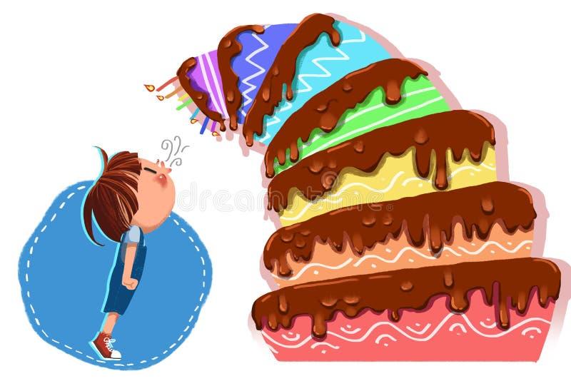 孩子的例证:生日快乐小人,有排列的生日蛋糕倾斜了更加紧密并且说! 库存例证