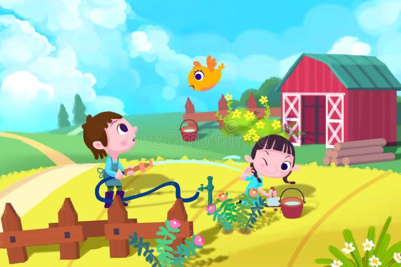 孩子的例证:男孩浇灌植物,但是粗心大意地射击了水给女孩 库存例证