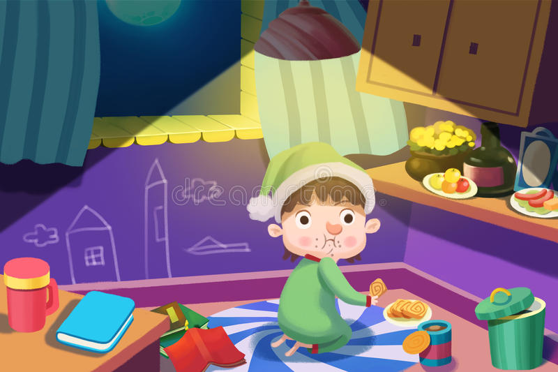 孩子的例证:饥饿的男孩在行动得到在晚上窃取一些食物,但是被捉住了! 库存例证