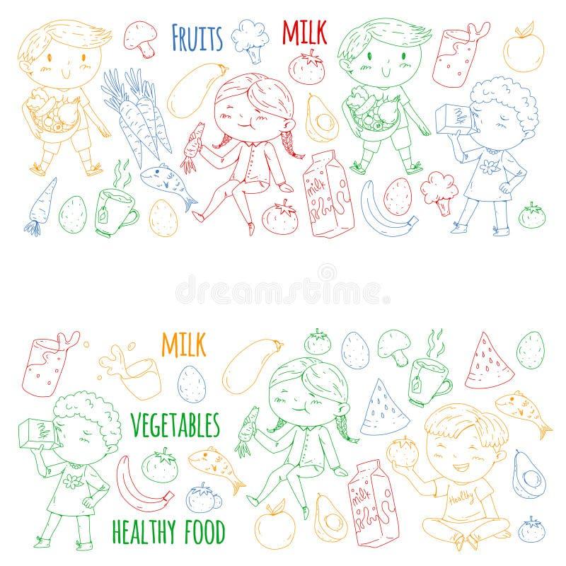 孩子的健康食物 幼儿园,学校哄骗吃西瓜,茄子,鱼,蕃茄,鲕梨,牛奶,红萝卜 向量例证