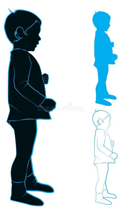 孩子的剪影 向量例证