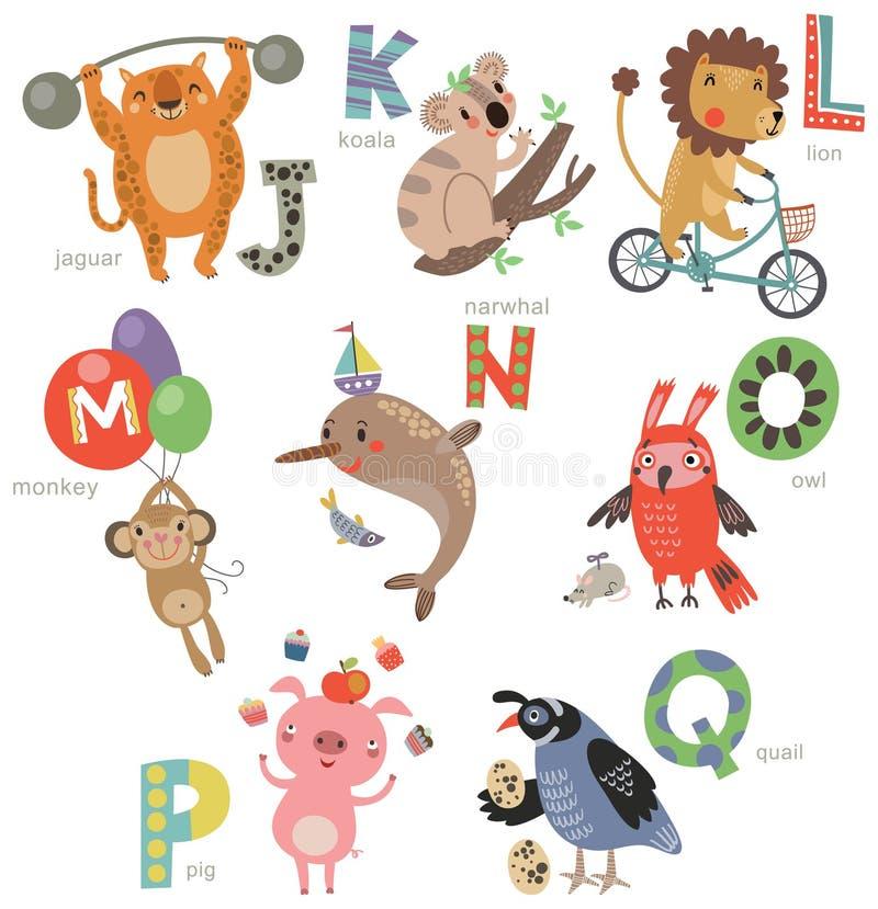 孩子的动物园字母表 套信件和例证 逗人喜爱的动物 皇族释放例证