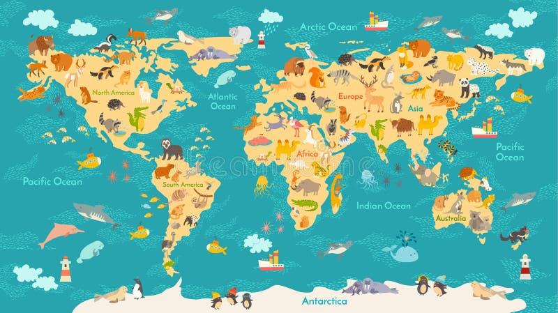孩子的动物地图 世界孩子的,被说明的逗人喜爱传染媒介海报 向量例证
