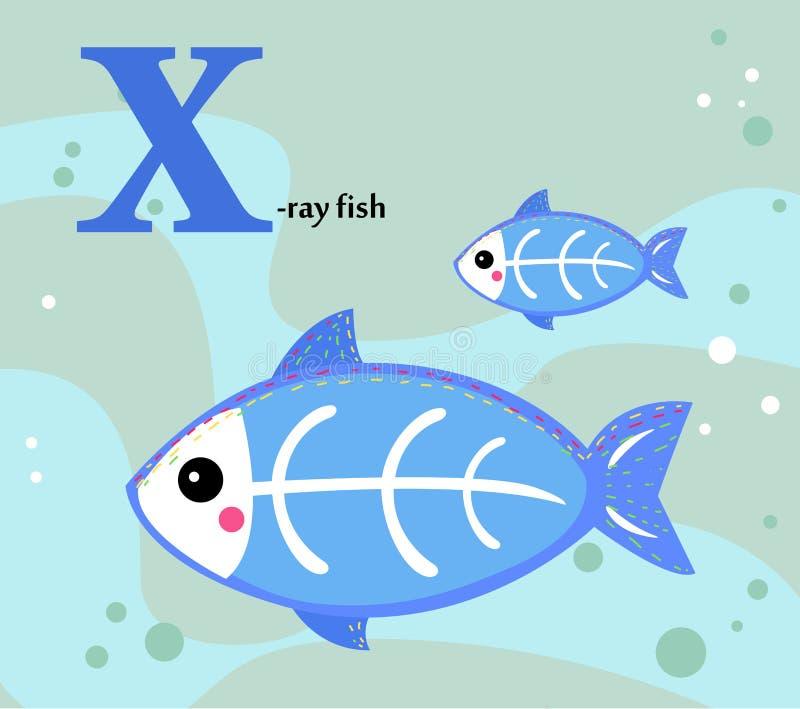 孩子的动物字母表:x X-射线鱼的 向量例证