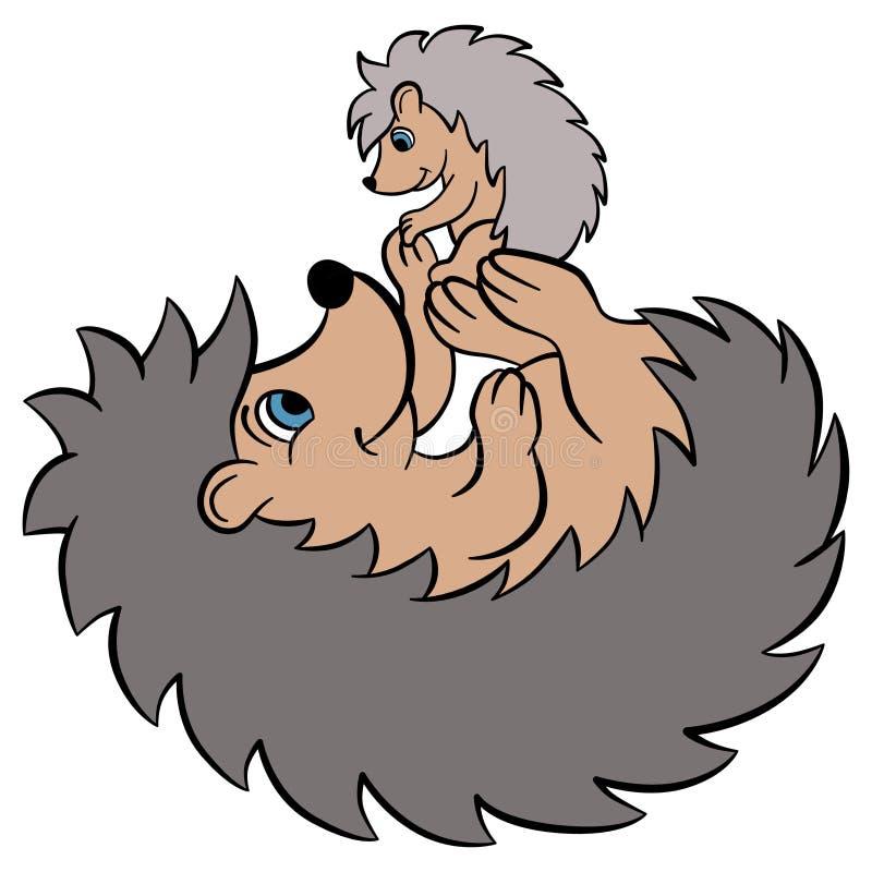 孩子的动画片野生动物 与婴孩的母亲猬 库存例证