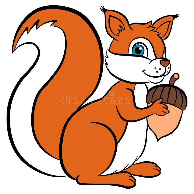 孩子的动画片野生动物 小的逗人喜爱的灰鼠拿着橡子 向量例证
