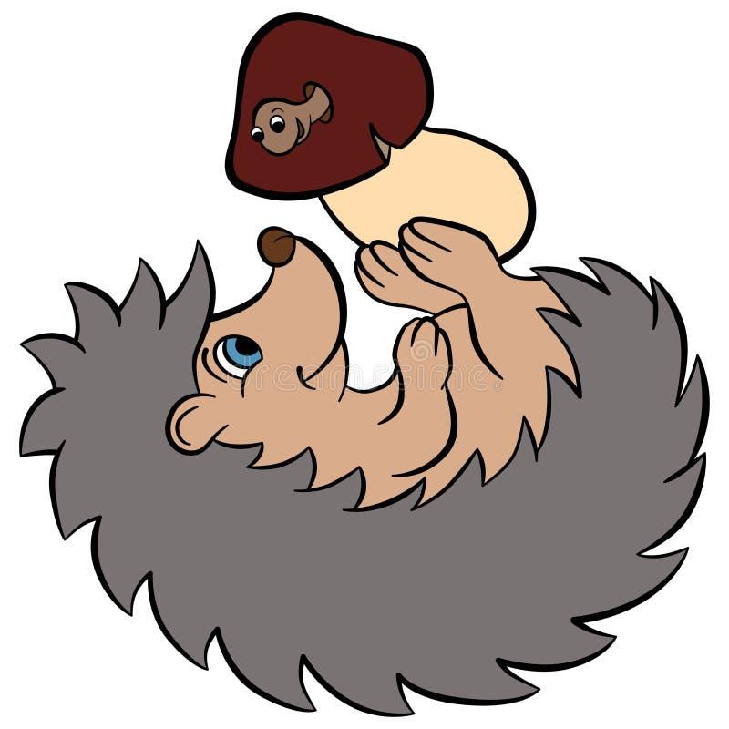 孩子的动画片野生动物 小的逗人喜爱的猬 皇族释放例证