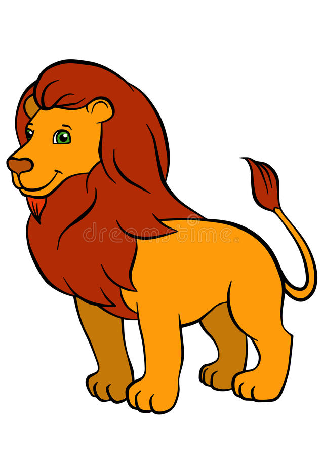 孩子的动画片野生动物 逗人喜爱的美丽的狮子 皇族释放例证