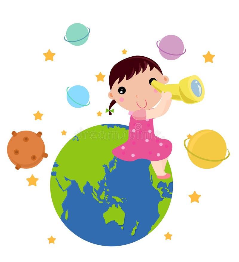 孩子的天文 库存例证