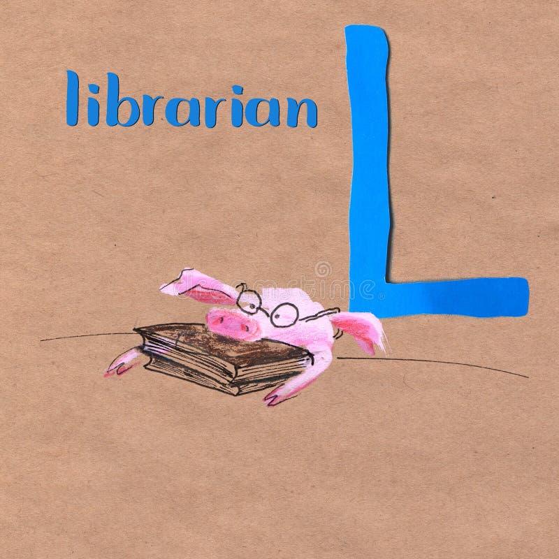 孩子的字母表有猪行业的 信函L 图书管理员 皇族释放例证