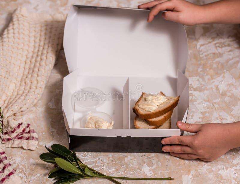 孩子的学校午餐箱子 回到学校 子项递s 顶视图,平的位置 库存图片