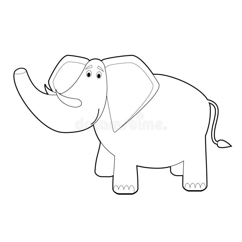 孩子的容易的着色动物:大象 皇族释放例证