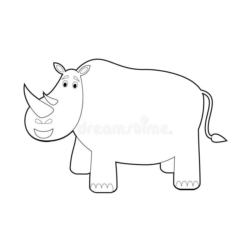 孩子的容易的着色动物:犀牛 库存例证