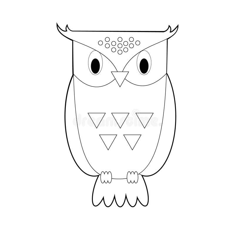 孩子的容易的着色动物:猫头鹰 向量例证