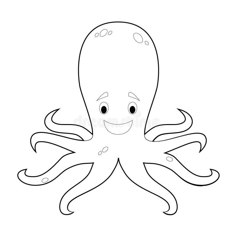 孩子的容易的着色动物:章鱼 皇族释放例证