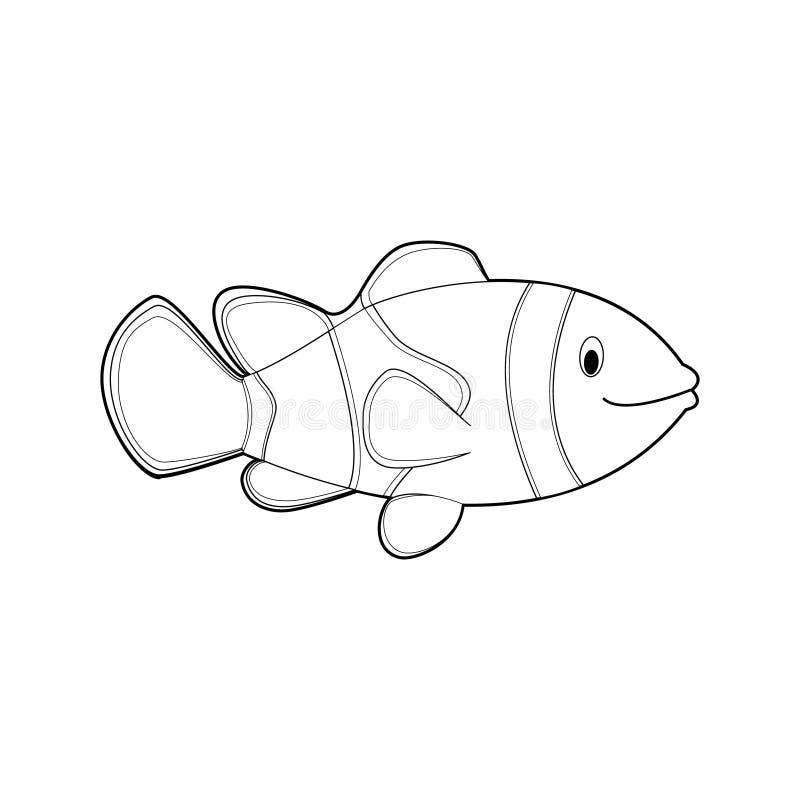 孩子的容易的着色动物:Clownfish 向量例证