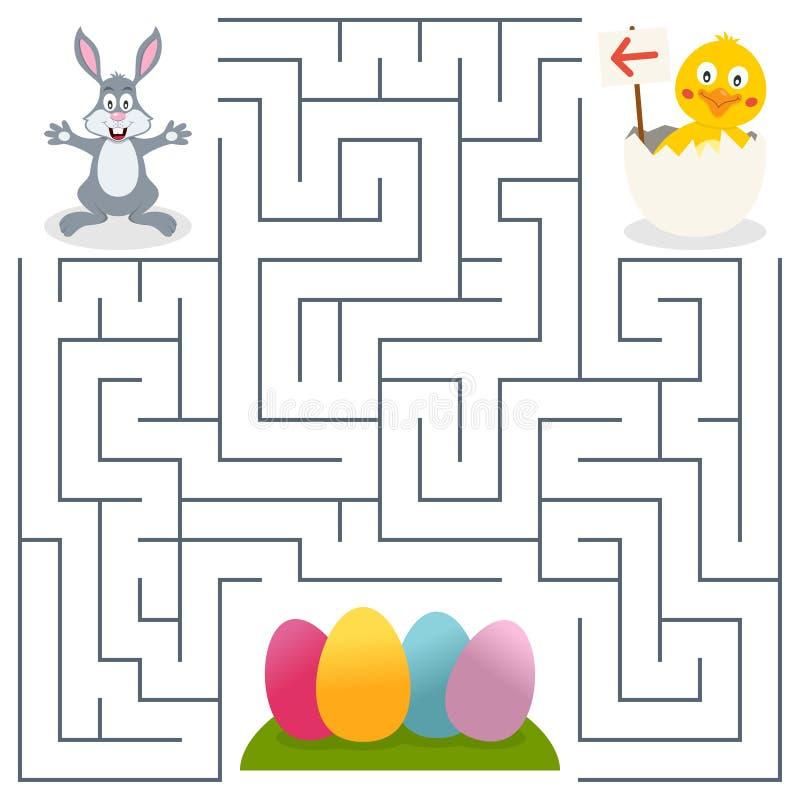 孩子的小兔&复活节彩蛋迷宫 向量例证