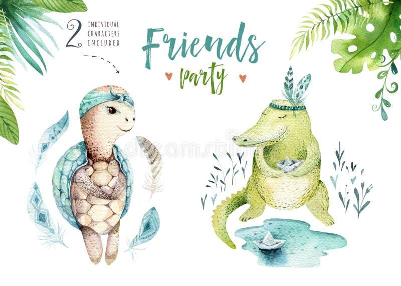 孩子的小动物托儿所被隔绝的例证 水彩boho热带图画,儿童逗人喜爱的热带乌龟和 向量例证