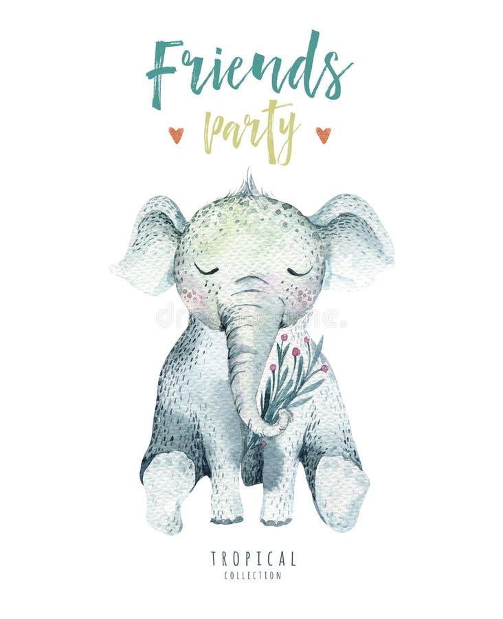 孩子的小动物托儿所被隔绝的例证 水彩boho热带图画,儿童逗人喜爱的热带大象 皇族释放例证