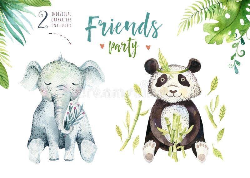 孩子的小动物托儿所被隔绝的例证 水彩boho热带图画,儿童逗人喜爱的热带大象 向量例证