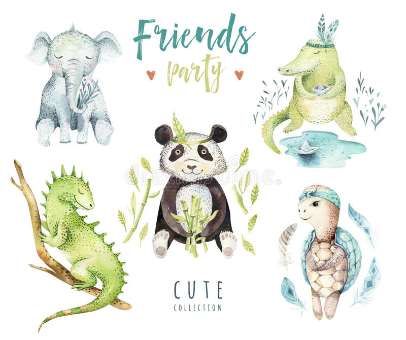 孩子的小动物托儿所被隔绝的例证 水彩boho热带图画,儿童punda,鳄鱼 向量例证