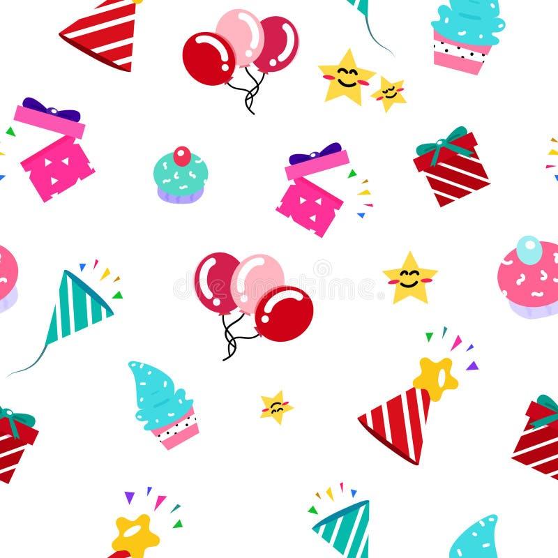 孩子的庆祝党礼物无缝的样式五颜六色的动画片收藏,在白色抽象背景传染媒介的假日事件 向量例证
