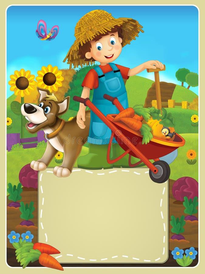 在农场-孩子的愉快的例证 向量例证