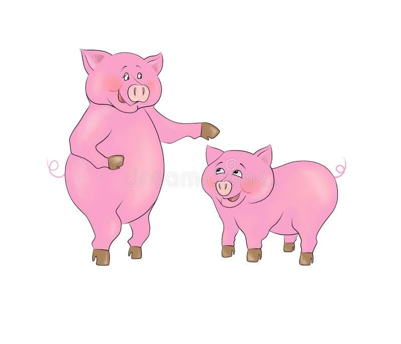 孩子的愉快的猪家庭母亲和儿子光栅图片 向量例证