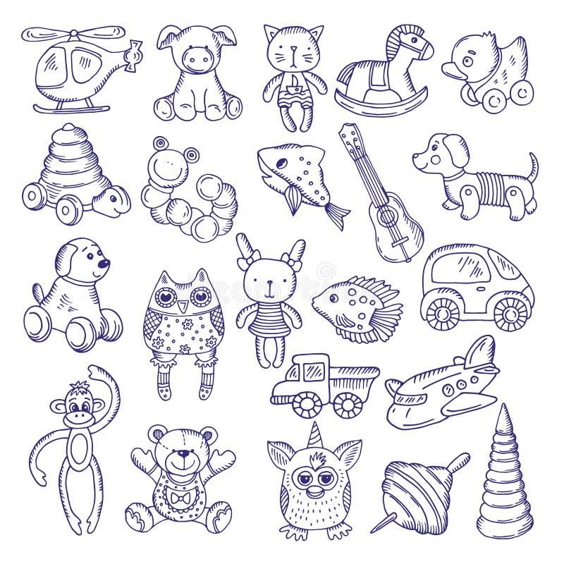 孩子的手拉的乱画玩具 传染媒介在白色背景的剪影孤立 皇族释放例证