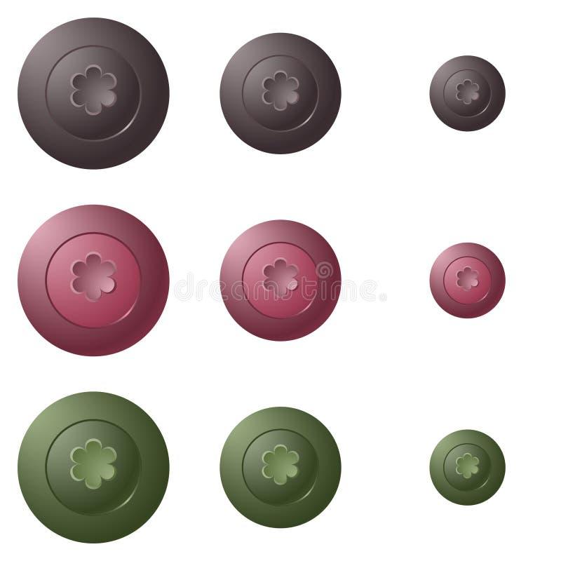 孩子的按钮有花的 向量例证