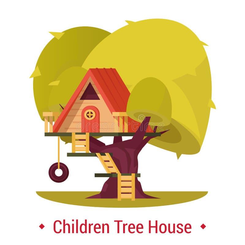孩子的操场风雨棚 有篱芭的树上小屋在树的孩子的与梯子 皇族释放例证