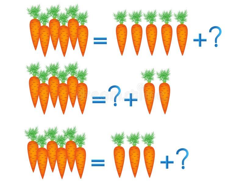 孩子的教育比赛,构成的六,例子用红萝卜 皇族释放例证