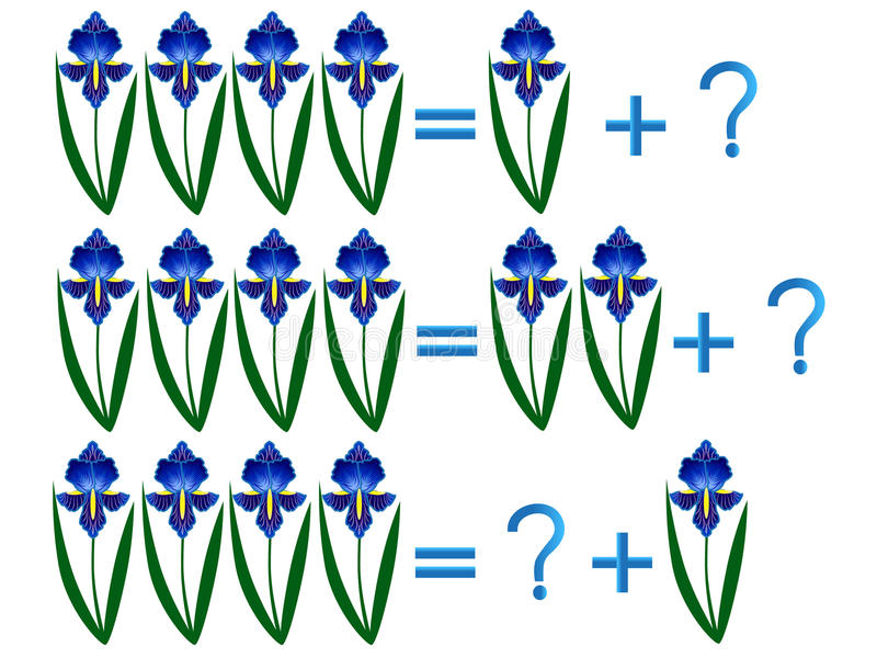 孩子的教育比赛,构成的四,与花的例子 库存例证