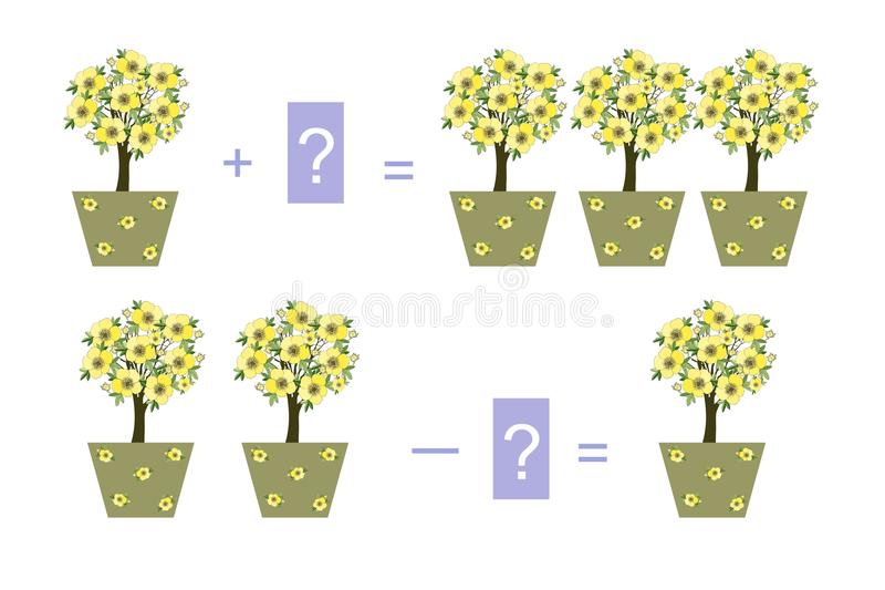 孩子的教育比赛 与室内植物的例子 库存例证