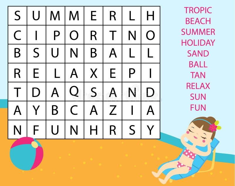 孩子的教育比赛 词查寻难题哄骗活动 学会词汇量的暑假题材 皇族释放例证