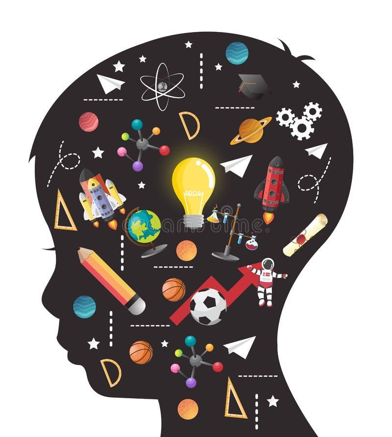 孩子的教育的概念 知识的一代 皇族释放例证
