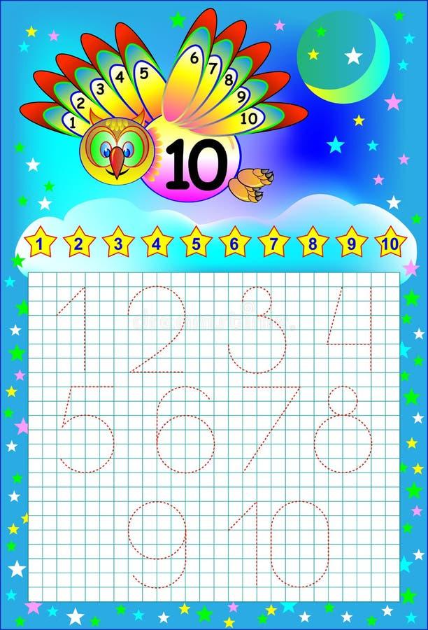孩子的教育页与数字的一个方格纸的 向量例证