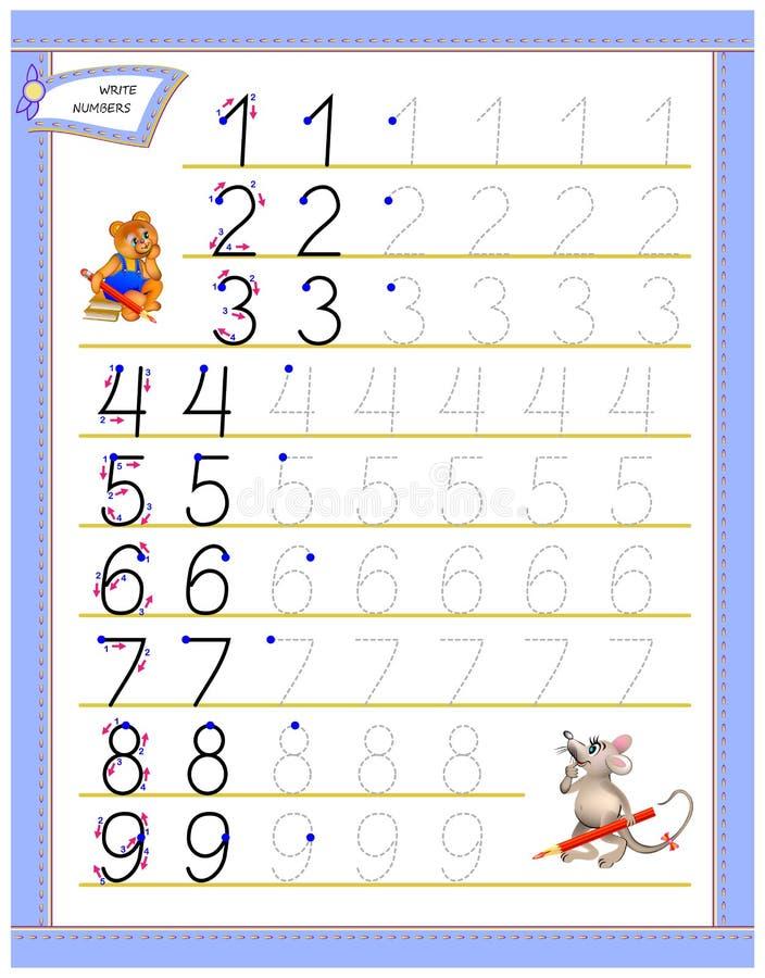 孩子的教育页能学习文字数字 孩子课本的活页练习题 计数的开发的技能 库存例证