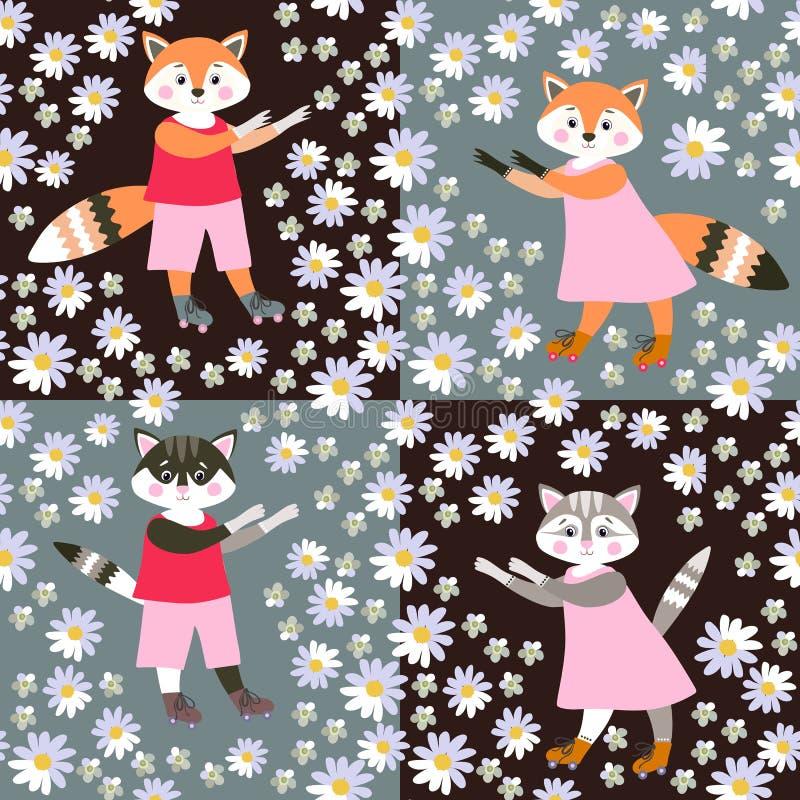 孩子的无缝的动物印刷品 逗人喜爱的动画片猫和狐狸 库存例证