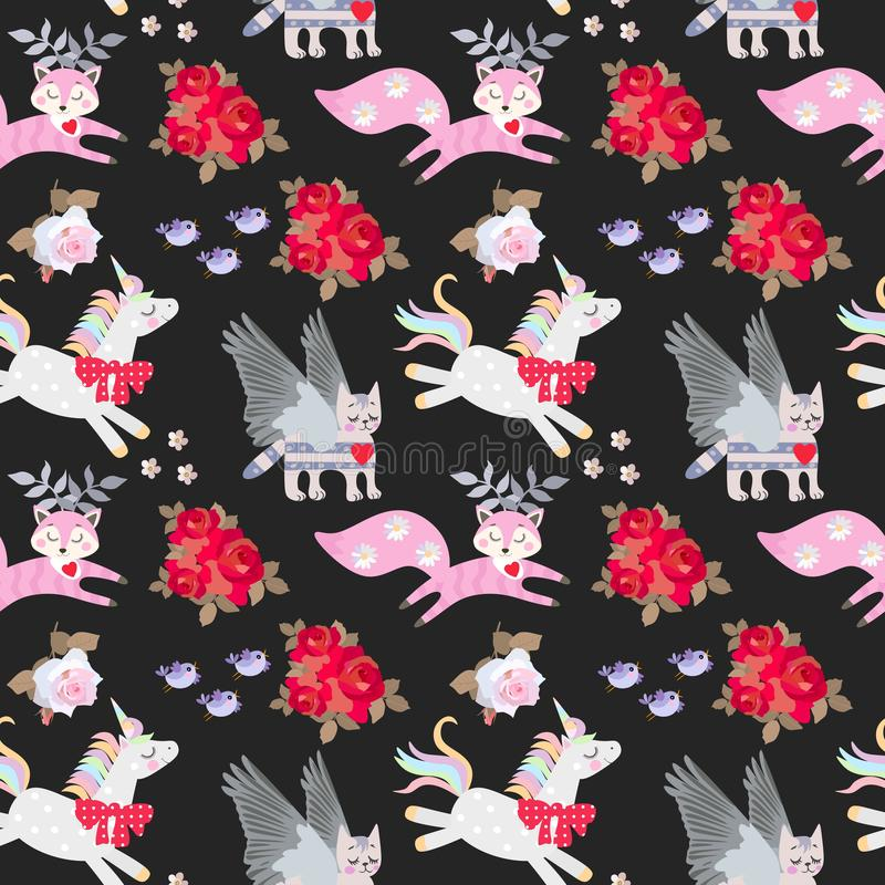 孩子的无缝的动物样式 独角兽、飞过的小猫和滑稽的有角的狐狸、在黑色隔绝的花和鸟 向量例证
