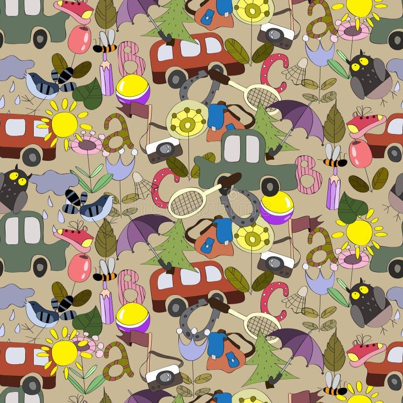 孩子的无缝的样式能旅行 向量例证