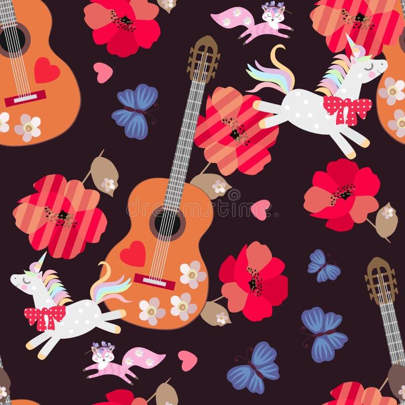 孩子的无缝的装饰品 独角兽、小的狐狸、蓝色蝴蝶、木吉他、心脏和红色鸦片花在黑色 皇族释放例证