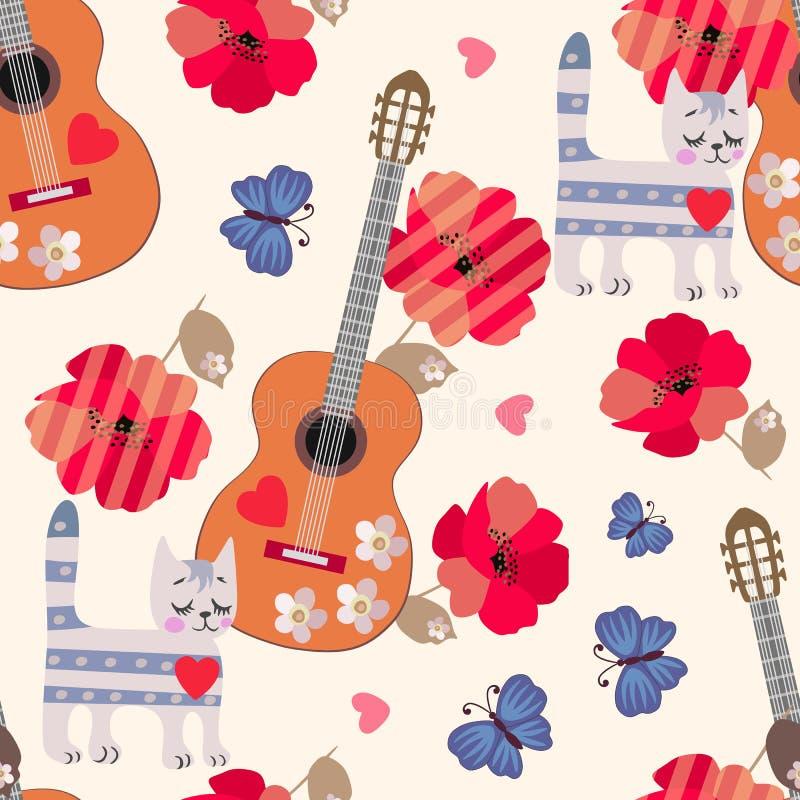 孩子的无缝的装饰品 虎斑猫、木吉他、蓝色蝴蝶、红色鸦片和一点心脏在轻的灰棕色 向量例证