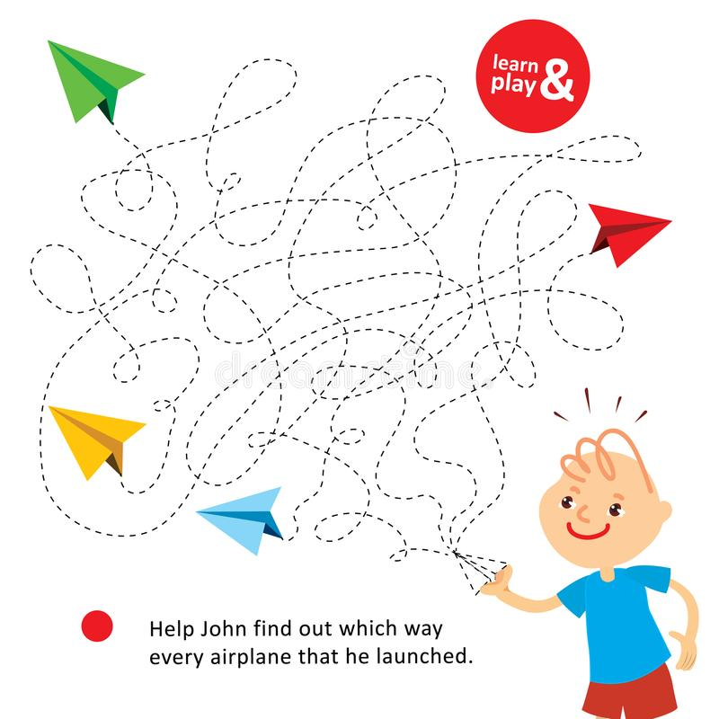 孩子的有趣的挑战比赛 帮助约翰发现哪个方式他发射的每架纸飞机 逻辑迷宫为 库存例证